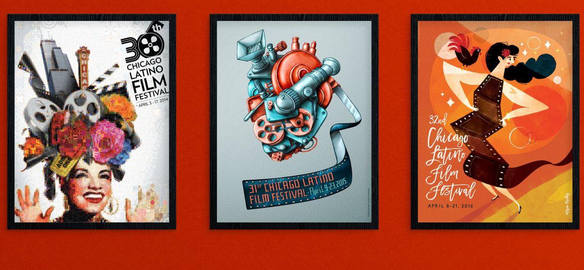 Tres de los más recientes carteles del Festival de Cine Latino de Chicago. Tú podrías ser el autor del de este año.