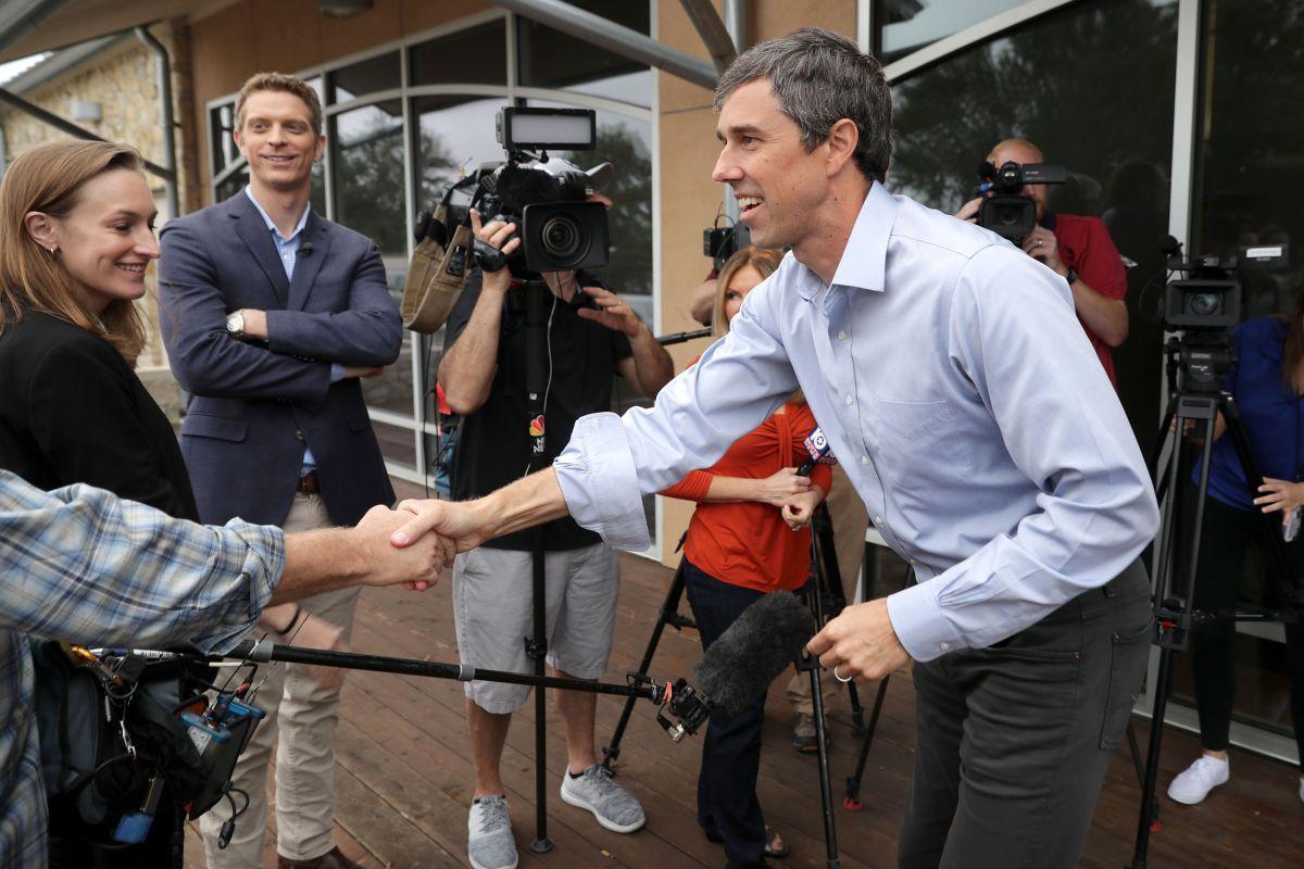 El demócrata O'Rourke en un acto de campaña en su carrera contra el senador titular Ted Cruz (R).
