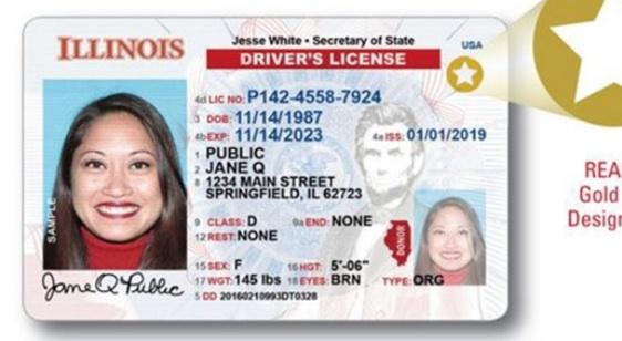 Ejemplo de una identificación Real ID de Illinois
