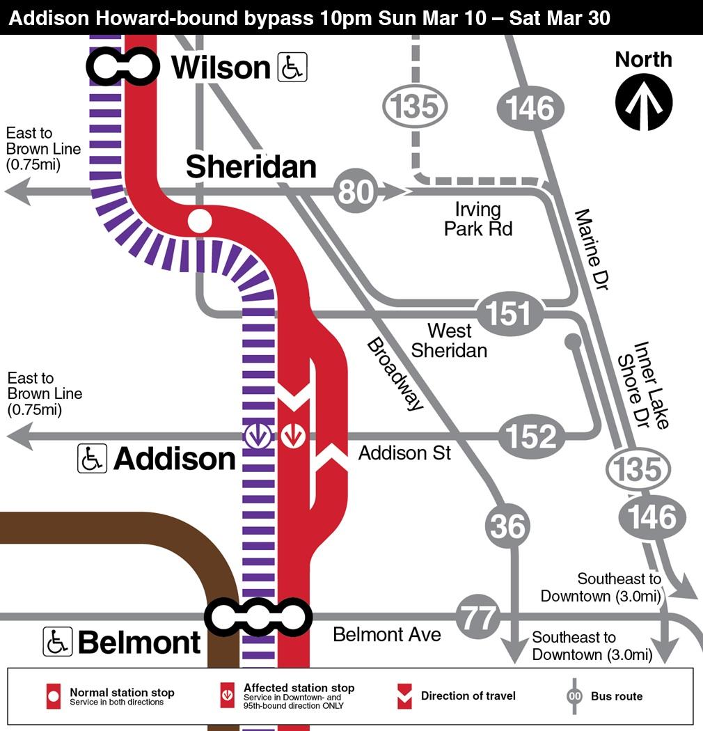 El trabajo en la estación de la Addison está programado que finalice el 1 de abril.