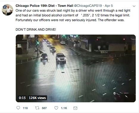 Conductor ebrio impactó un patrullero de la Policía de Chicago