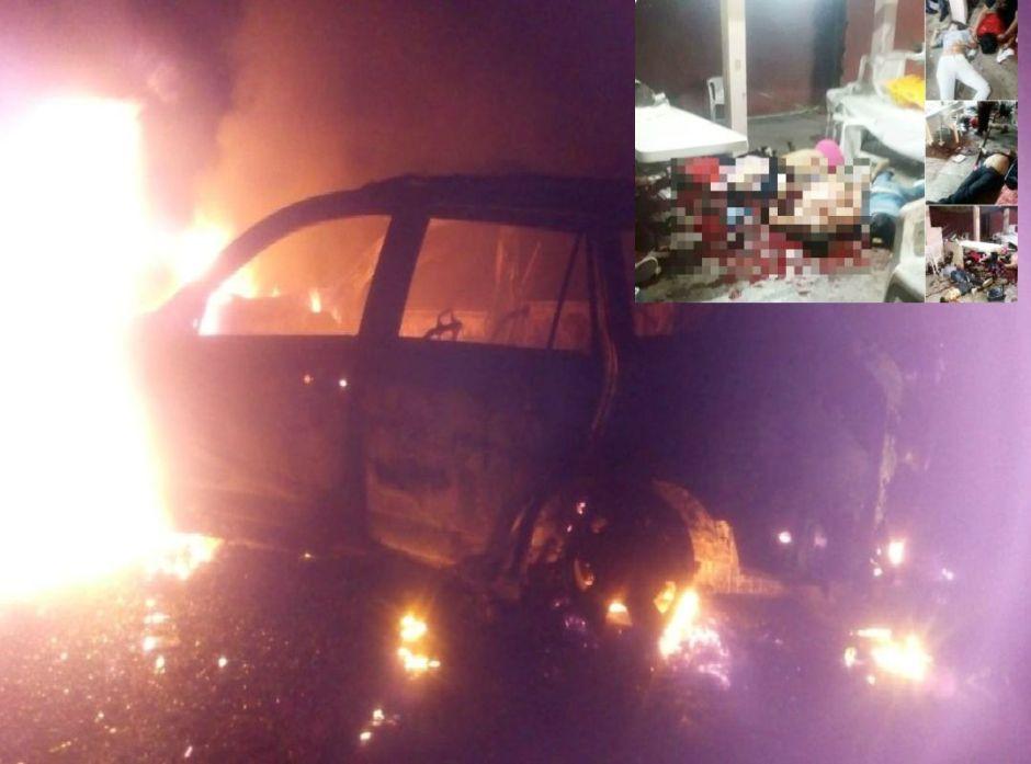 Hallan quemado al vehículo donde escaparon sicarios que mataron a 14 en Veracruz