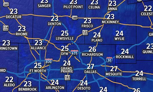 Mucho frío en Texas.