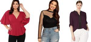 5 estilos de blusas con escotes atractivos para mujeres plus size
