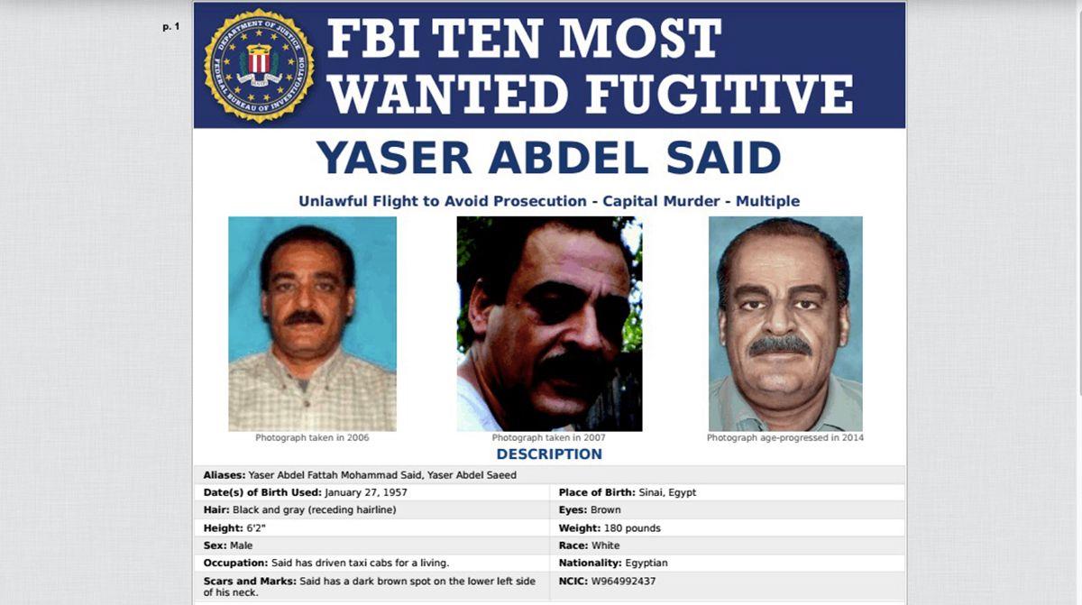 El cartel de fugitivo de Yaser Abdel Said.
