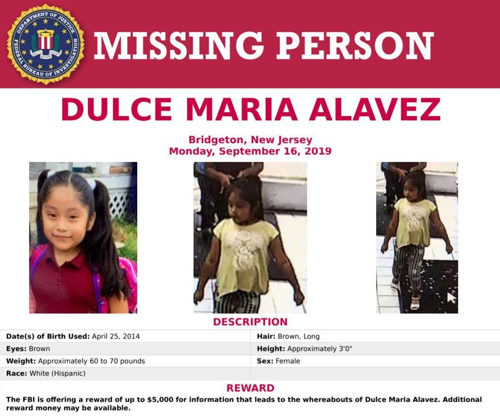 FBI cree que Dulce María, la niña raptada hace un año en Nueva Jersey, sigue viva