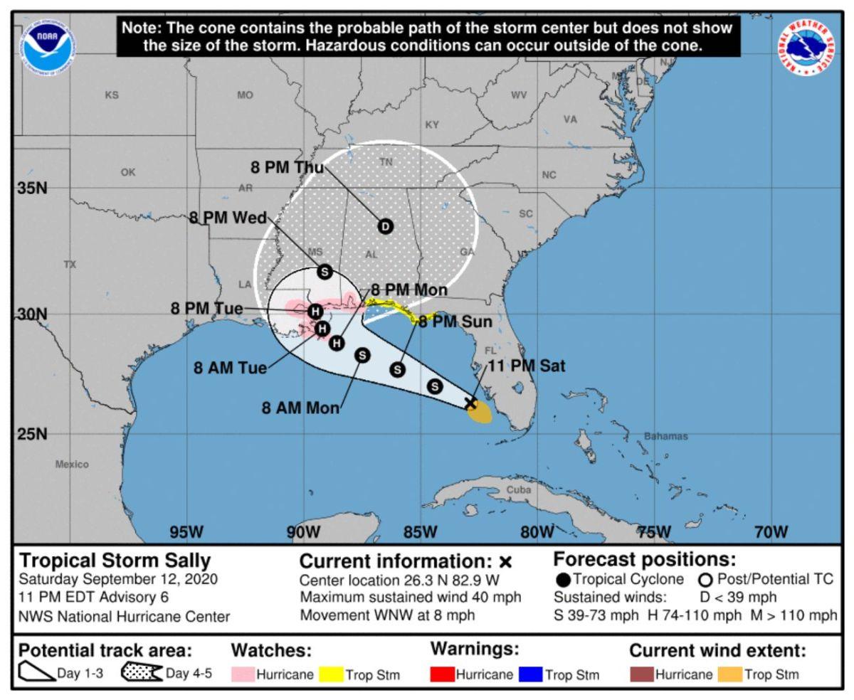 El cono indica la posible trayectoria de la tormenta Laura.
