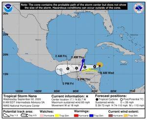 Tormenta tropical Nana en el Caribe puede llegar a Belice con fuerza de huracán