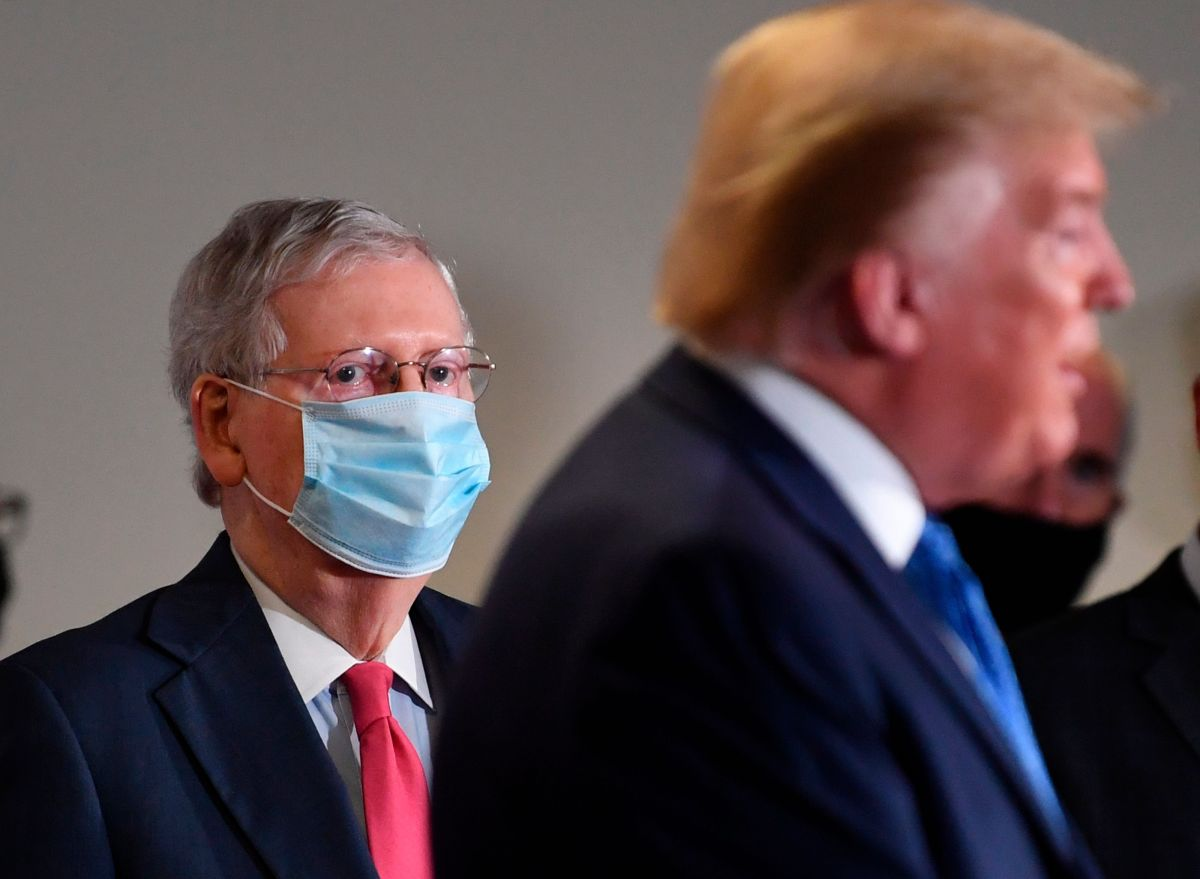 El portavoz de la mayoría republicana en el Senado, Mitch McConnell, junto al presidente Donald Trump.