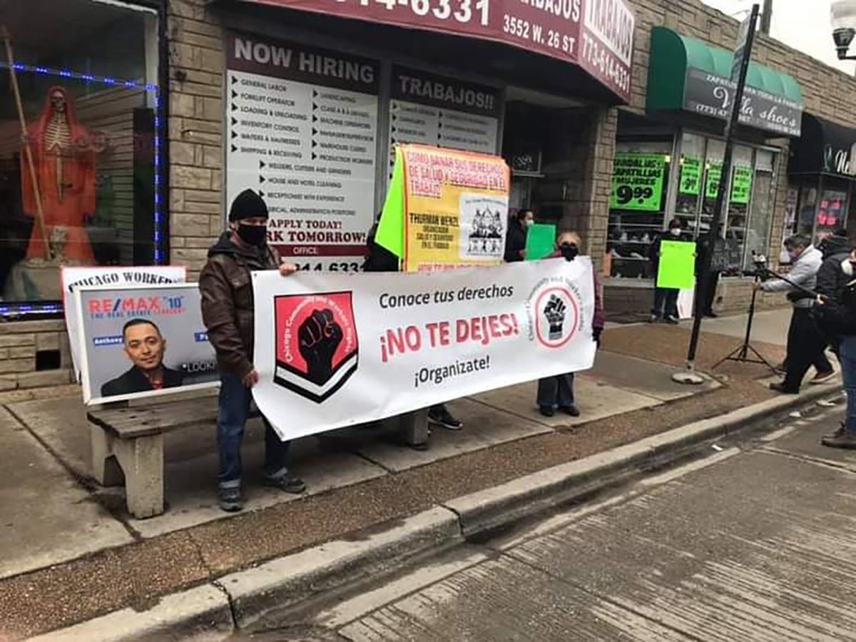 Trabajadores de la agencia de empleo temporal Center Staffing de La Villita exigen que se les paguen sus horas trabajadas y no con cheques sin fondos. (Cortesía Chicago Community and Worker's Rights)