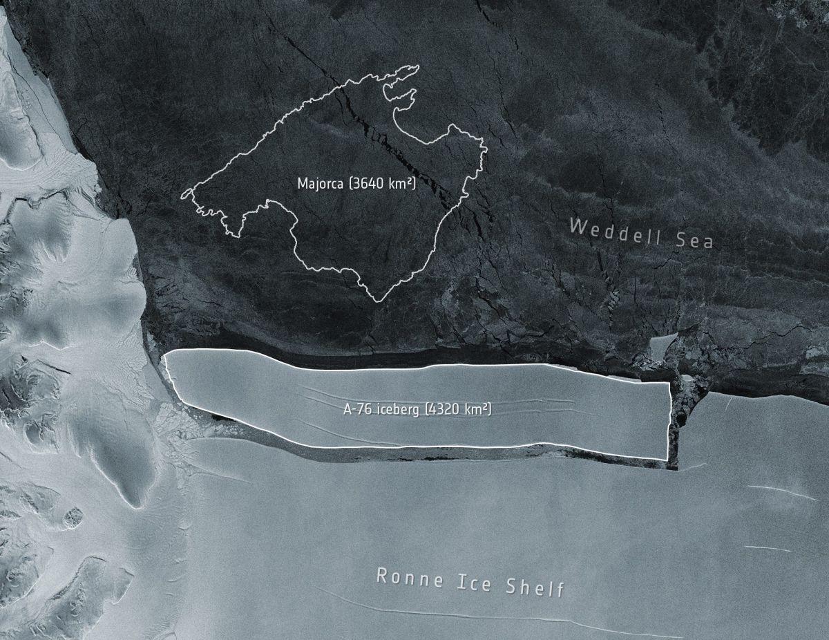 La foto compara el tamaño del iceberg con el de la isla española de Mallorca   Crédito: Cortesía