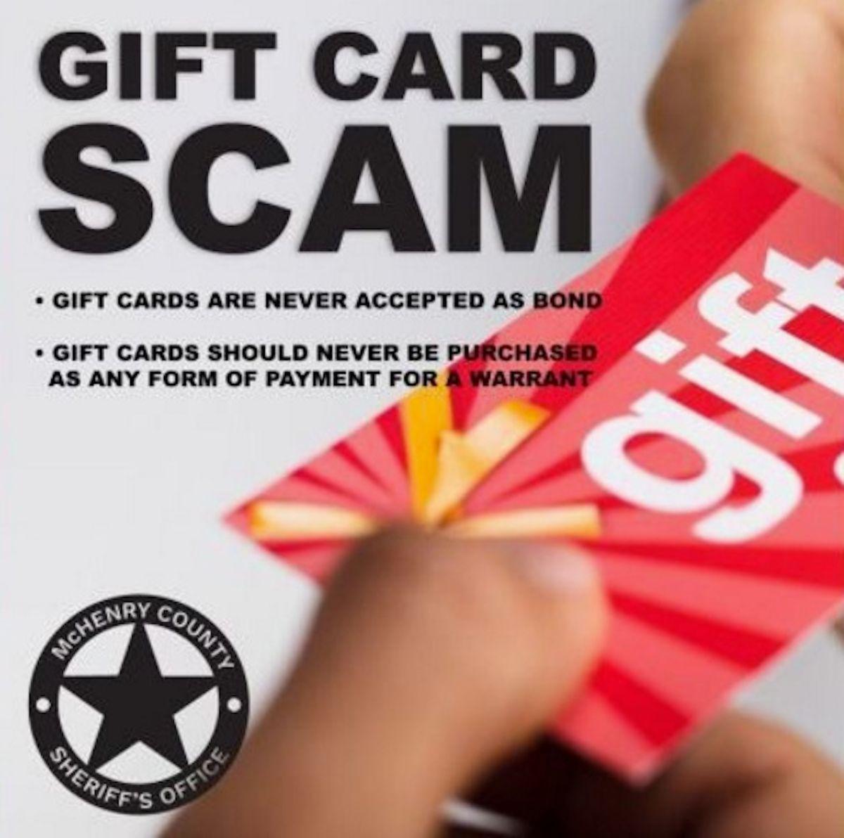 La oficina del alguacil del condado de McHenry alerta sobre una estafa relacionada con la compra de tarjetas de regalo para evitar ser arrestado. Foto Oficina del Alguacil del Condado McHenry en Illinois