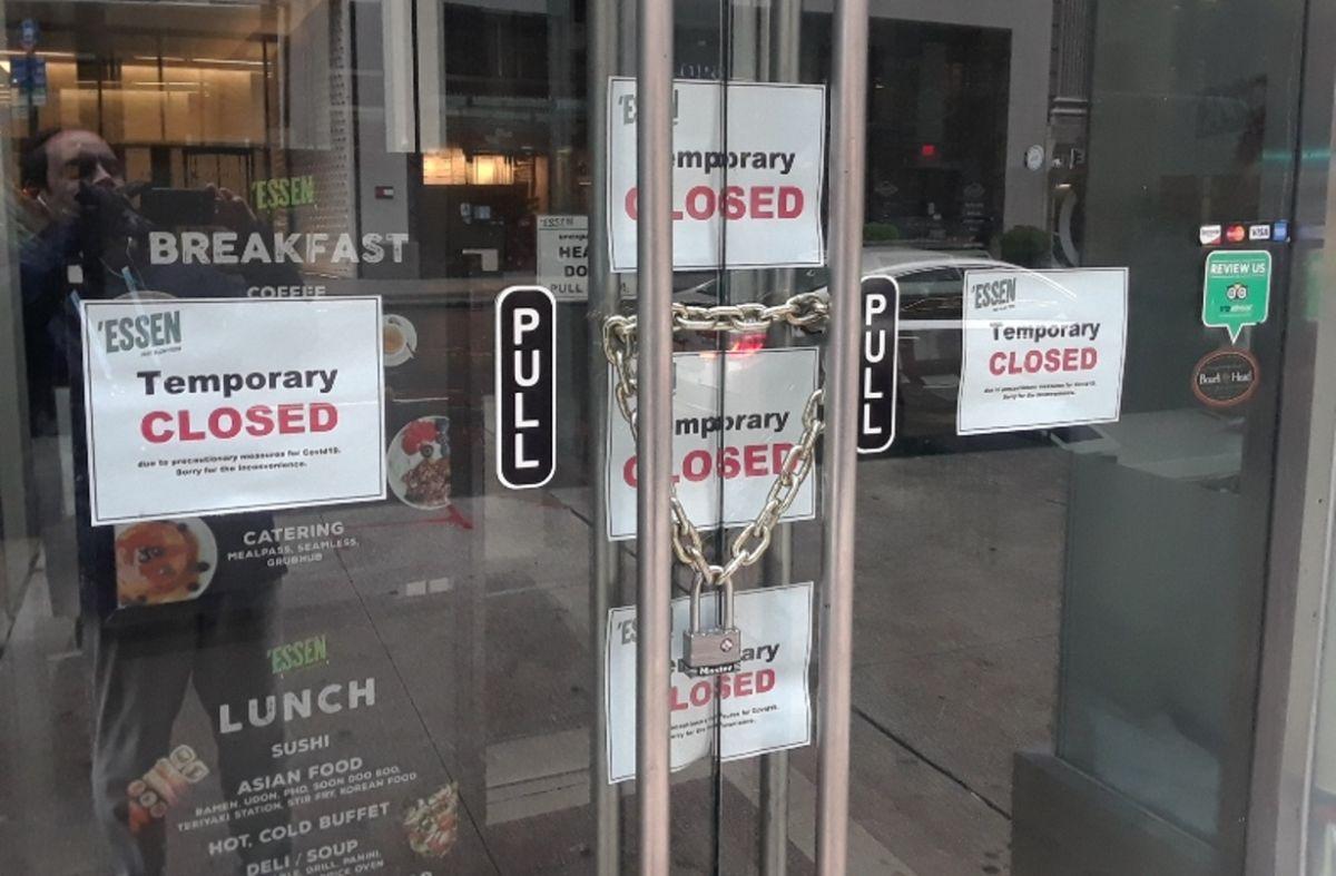 Negocio cerrado en NYC, abril 2020.
